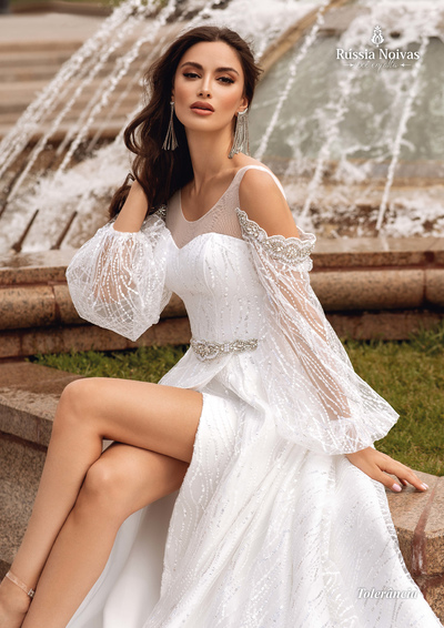 vestido noiva manga bufante